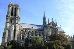 Notre Dame cathedral Paris France, side view Royalty Free Stock Image