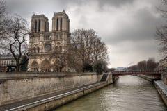 Notre dame de Paris and Siena river Stock Image