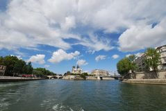 Notre Dame de Paris, sky, waterway, cloud, water. Notre Dame de Paris is sky, water and sea. That marvel has waterway, body of water and tree and that beauty stock images