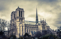 Notre Dame de Paris. At snowless winter, Paris, France Royalty Free Stock Image