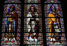 Notre Dame de Paris Stained Glass. Stained glass window at Notre Dame de Paris in Paris, France royalty free stock photo