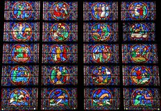 Notre Dame de Paris Stained Glass. Stained glass window at Notre Dame de Paris in Paris, France stock photo