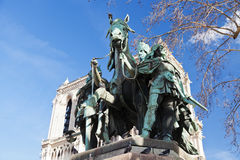 Statue Of Charlemagne in. Notre-Dame de Paris and Statue Of Charlemagne Stock Photography