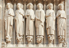 Notre Dame de Paris statues of saints Stock Photo