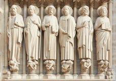 Notre Dame de Paris statues of saints. On the cathedral facade Stock Photo