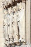 Notre Dame de Paris statues of saints Royalty Free Stock Photo