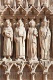 Notre Dame de Paris statues of saints Royalty Free Stock Images