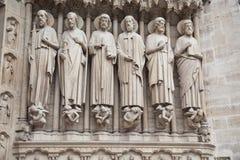Notre Dame de Paris statues of saints Royalty Free Stock Photography