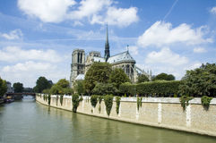 Notre Dame de Paris in the Summer stock images