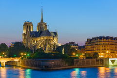 Notre Dame de Paris at the summer night Royalty Free Stock Photography