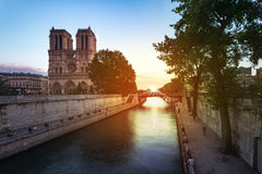 Notre Dame de Paris Sunset Stock Photo