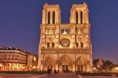Notre Dame de Paris at sunset, France. Notre Dame de Paris is a Gothic, Catholic cathedral on the eastern half of the Isle de la Cite in Paris, France Stock Photo