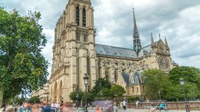 Notre-Dame de Paris timelapse, a medieval Catholic cathedral on the Cite Island in Paris, France. Notre-Dame de Paris timelapse. It is a medieval Catholic stock video footage