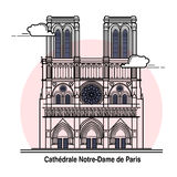 Notre-Dame de Paris Travel Card. Notre-Dame de Paris Card in vector in outline style Royalty Free Stock Photo