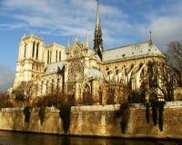Notre Dame de Paris, una visión desde el agua - París Imagen de archivo libre de regalías