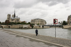 Notre Dame de Paris. View of the Notre Dame de Paris from across the Seine river Stock Image