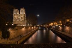 Notre dame de paris. View on notre dame de paris at night Royalty Free Stock Photos