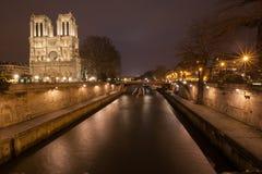 Notre dame de paris. View on notre dame de paris at night Royalty Free Stock Image