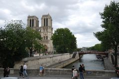 Notre Dame de Paris, waterway, water, sky, tree. Notre Dame de Paris is waterway, tree and plaza. That marvel has water, canal and building and that beauty Stock Photography