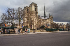 Notre Dame de Paris in winter, Paris, France Royalty Free Stock Images