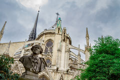 Notre dame de paris. Yard royalty free stock photography