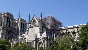 Notre Dame de Paris: Reinforcement work after the fire. Notre Dame de Paris with zoom in. Reinforcement work in progress after the fire, to prevent the Cathedral stock footage