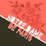 Notre Dame de pary poser. Torn paper style. Roses flower theme Creative design background for social media post. Publishing, blogs. Red and black color. Vector vector illustration