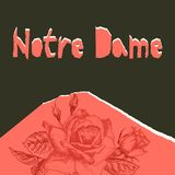 Notre Dame de pary poser. Torn paper style. Roses flower theme Creative design background for social media post. Publishing, blogs. Red and black color. Vector stock illustration