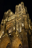 Notre-Dame de Reims Cathedral by night, France. Royalty Free Stock Images