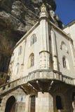 Notre Dame de Rocamadour教堂在主教市Rocamadour,法国 图库摄影