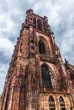 Notre dame de Strasbourg. Old cathedral as HDR image. Famous monument of France. One of the highest sacral building in the world Royalty Free Stock Photo