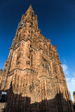 Notre dame de Strasbourg. Old cathedral as HDR image. Famous monument of France. One of the highest sacral building in the world Royalty Free Stock Photography