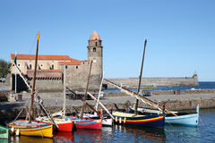 Notre-Dame-des-Anges and boats in Collioure Royalty Free Stock Photo