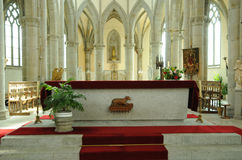 Notre Dame des Champs church in Avranches. Normandie, an altar in Notre Dame des Champs church in Avranches Royalty Free Stock Images