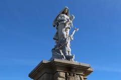 Notre Dame des Naufrages statue in Pointe du Raz Stock Photos