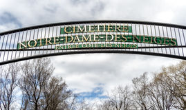 Notre Dame des Neiges Cemetery. Founded in 1854 , the Notre-Dame-des-Neiges cemetery of the parish of Notre-Dame in Montreal , is a cemetery of 343 acres (1.39 stock photo