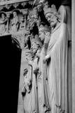Notre Dame Detail Facade Black och vit Royaltyfri Bild