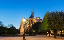 Notre Dame domkyrka i afton, Paris Arkivfoto