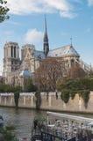 Notre Dame domkyrka och RiverboatCafe Arkivbilder