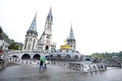 Notre Dame du Rosaire de Lourdes Basilica av vår dam av radbandet det roman - katolsk kyrka i Lourdes, Frankrike Royaltyfri Foto