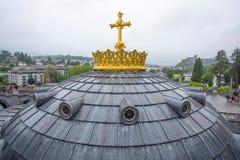 Notre Dame du Rosaire de Lourdes Basilica av vår dam av radbandet det roman - katolsk kyrka i Lourdes, Frankrike Royaltyfria Foton