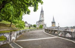 Notre Dame du Rosaire de Lourdes Basilica of our Lady of the Rosary the roman Catholic church in Lourdes, France. royalty free stock photo