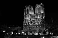 Notre Dame en blanco y negro Imágenes de archivo libres de regalías