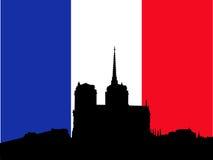 Notre Dame en Franse Vlag royalty-vrije illustratie