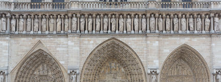 Notre Dame Entrance Sculpture Royalty Free Stock Photos