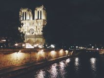 Notre Dame. Evening scene of Notre Dame Stock Photo