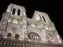Notre-Dame Facade. Night picture. Details of Paris Notre Dame facade Stock Image