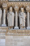 Notre dame facade statue detail Royalty Free Stock Images