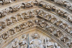 Notre dame facade statue detail Stock Images