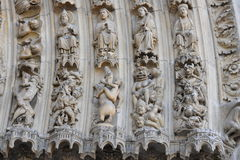 Notre dame facade statue detail Royalty Free Stock Photo